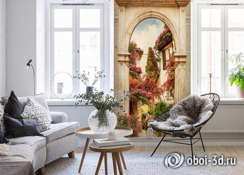 3D Фотообои «Арка в цветущем дворике» вид 4