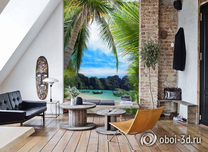 3D Фотообои «Лодочки в тропическом заливе» вид 7