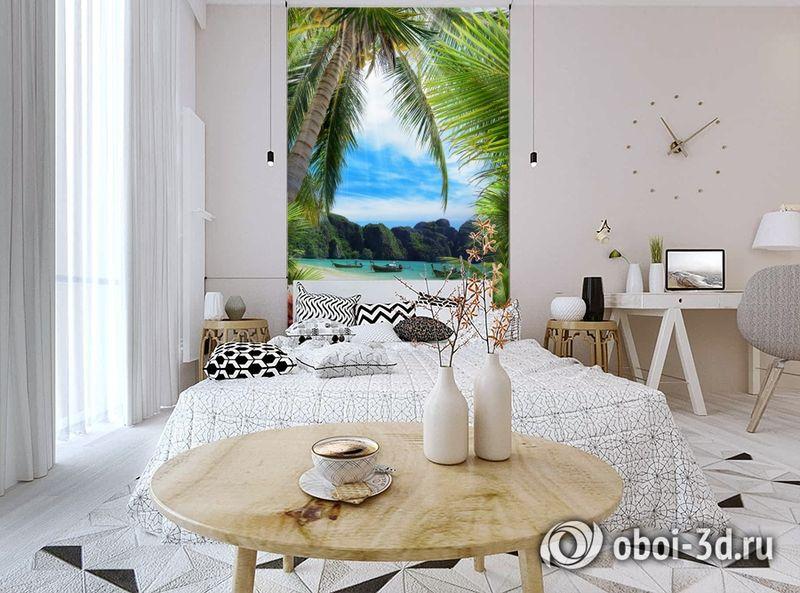 3D Фотообои «Лодочки в тропическом заливе» вид 3