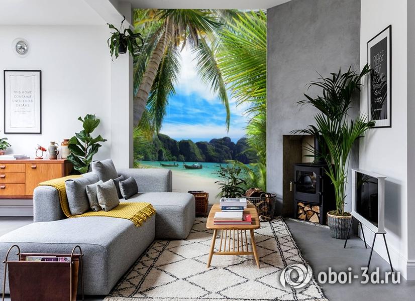 3D Фотообои «Лодочки в тропическом заливе» вид 2