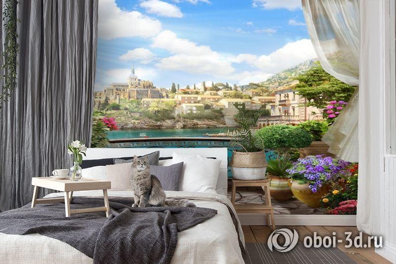 3D Фотообои «Балкон в солнечном городе» вид 7