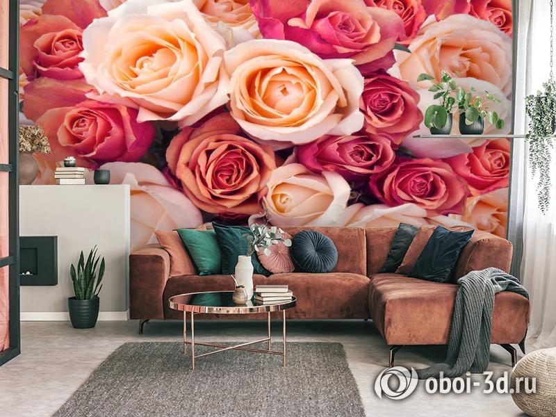 3D Фотообои «Ассорти из роз» вид 3