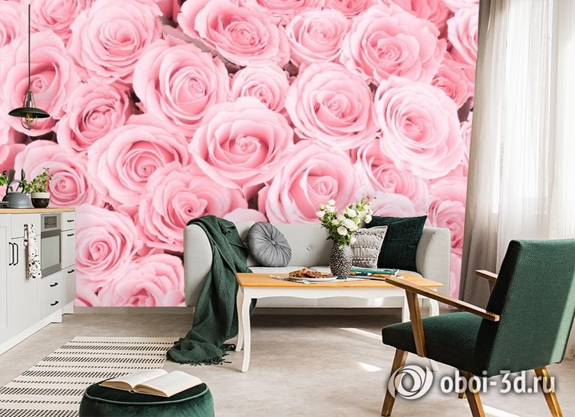 3D Фотообои «Ковер из нежно-розовых роз» вид 7