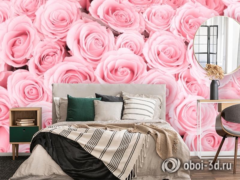 3D Фотообои «Ковер из нежно-розовых роз» вид 4