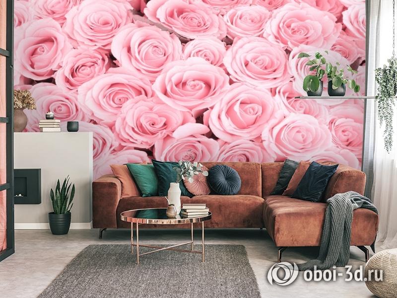 3D Фотообои «Ковер из нежно-розовых роз» вид 3