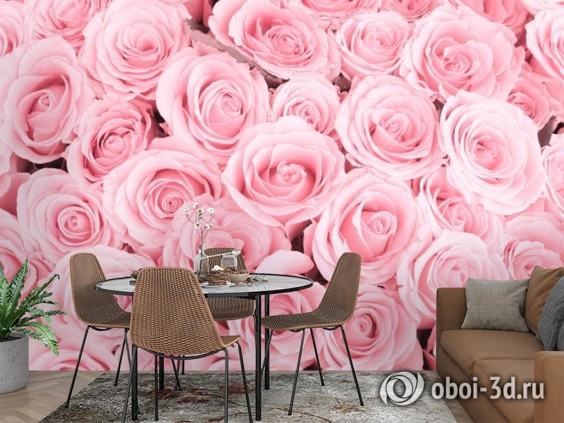 3D Фотообои «Ковер из нежно-розовых роз» вид 2