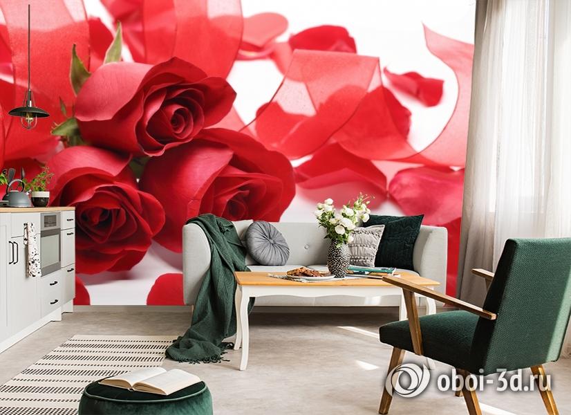 3D Фотообои «Композиция с алыми розами» вид 7