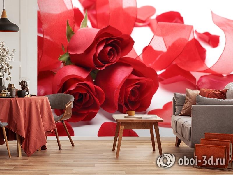 3D Фотообои «Композиция с алыми розами» вид 5