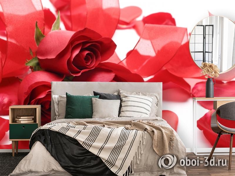 3D Фотообои «Композиция с алыми розами» вид 4