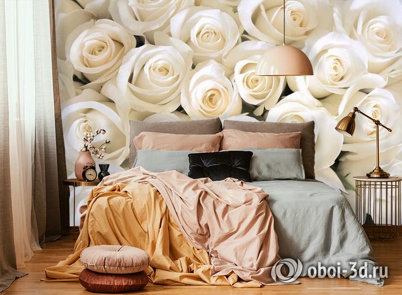3D Фотообои «Нежные белые розы» вид 6