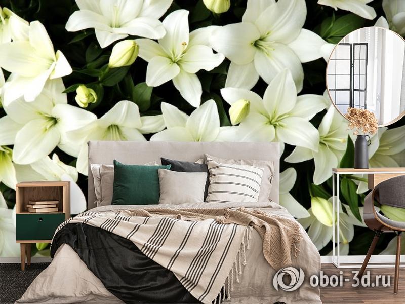 3D Фотообои «Белые лилии с бутонами» вид 4