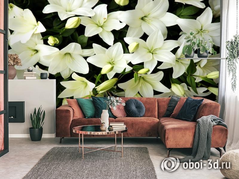 3D Фотообои «Белые лилии с бутонами» вид 3