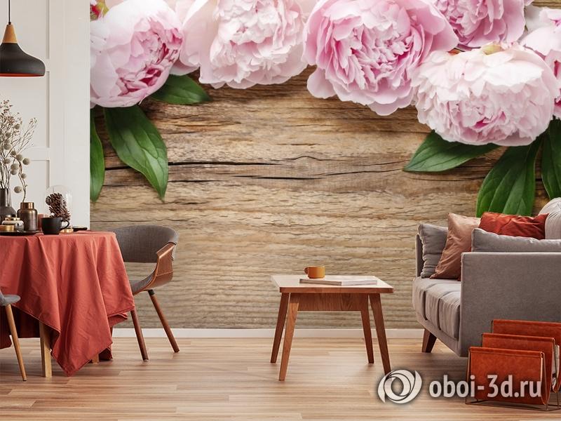 3D Фотообои «Пионы на деревянном фоне» вид 5