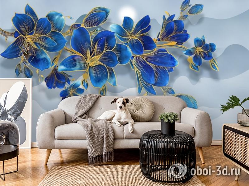 3D Фотообои «Роскошная ветвь цвета индиго» вид 6