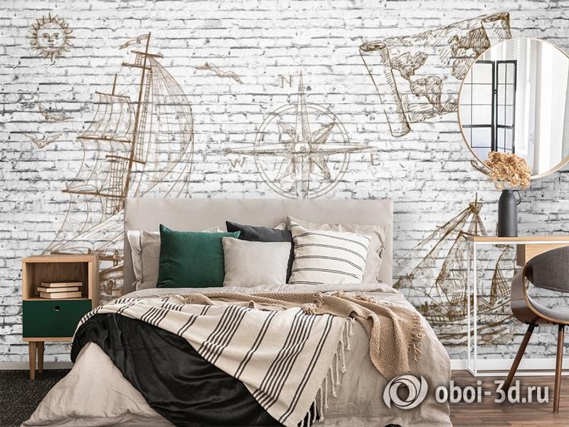 3D Фотообои «Кирпичная стена с фрегатом» вид 4