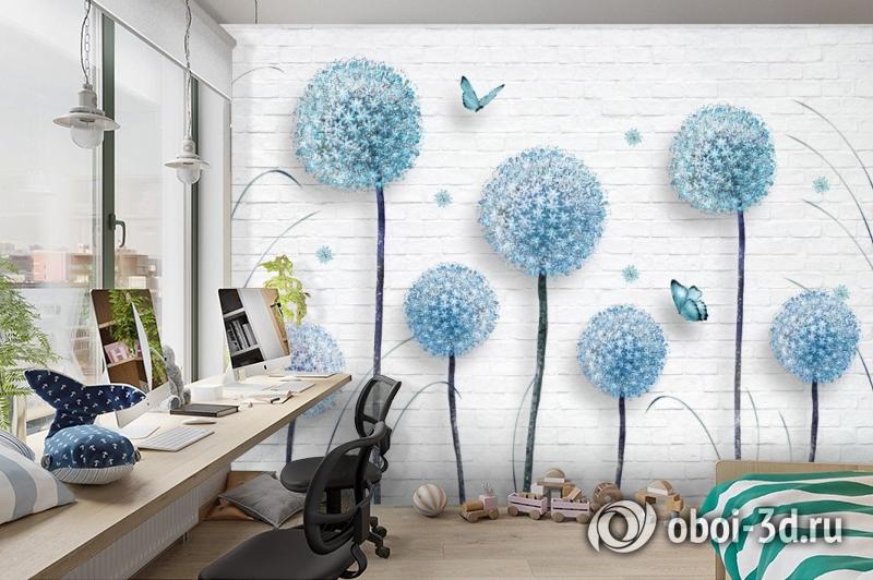 3D Фотообои «Одуванчики на кирпичной стене» вид 3