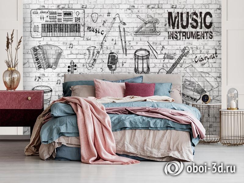 3D Фотообои «Лофт музыка» вид 3