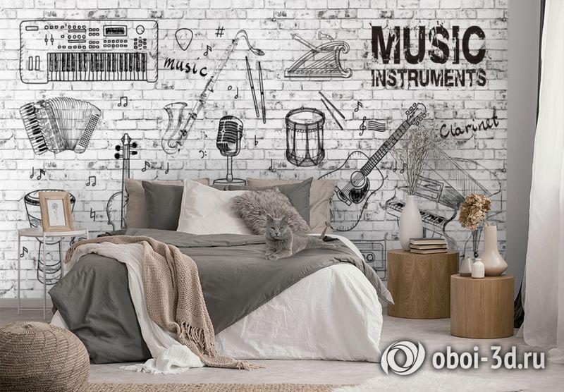 3D Фотообои «Лофт музыка» вид 2
