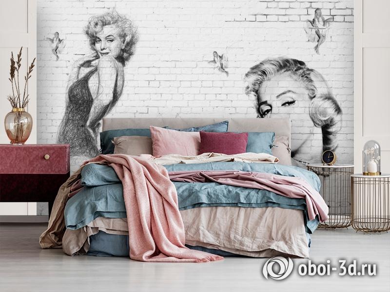 3D Фотообои «Мэрилин Монро. Настенная роспись» вид 3