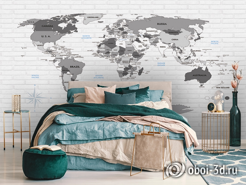 3D Фотообои «Карта на стене в стиле лофт» вид 7