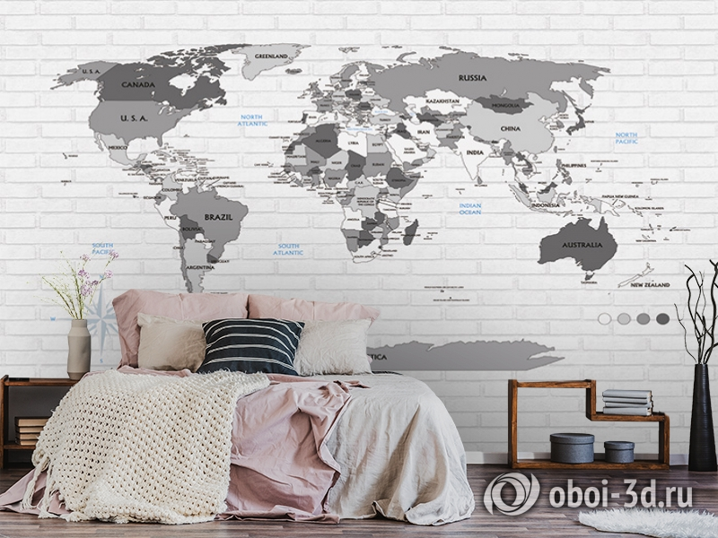 3D Фотообои «Карта на стене в стиле лофт» вид 6