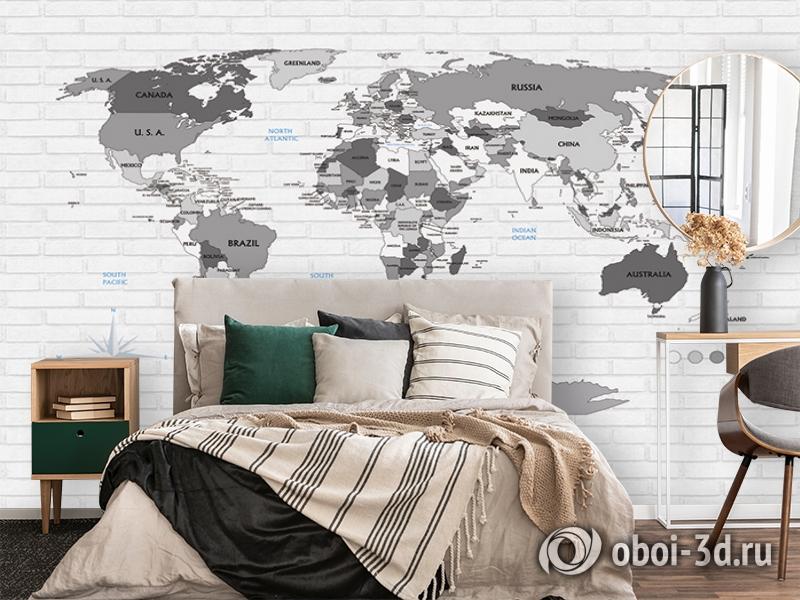 3D Фотообои «Карта на стене в стиле лофт» вид 4