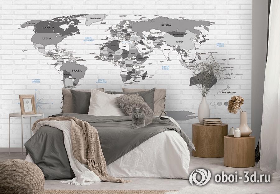 3D Фотообои «Карта на стене в стиле лофт» вид 2