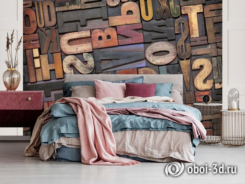 3D Фотообои «Деревянные буквы в интерьере» вид 3