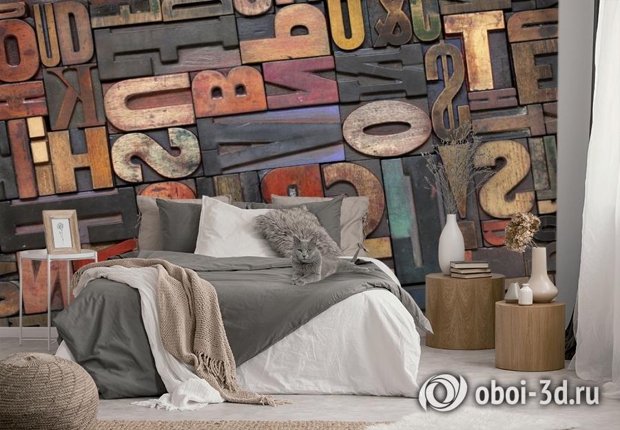 3D Фотообои «Деревянные буквы в интерьере» вид 2