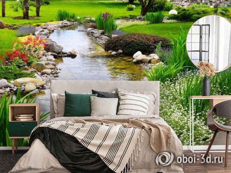 3D Фотообои  «Ручей в саду»  вид 4
