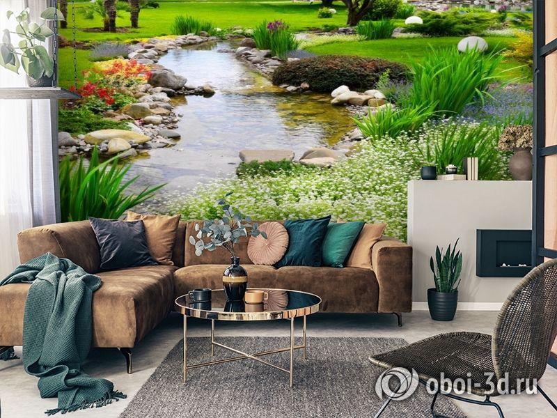 3D Фотообои  «Ручей в саду»  вид 3