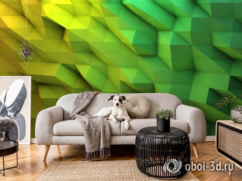 3D Фотообои «Зеленые полигоны» вид 7