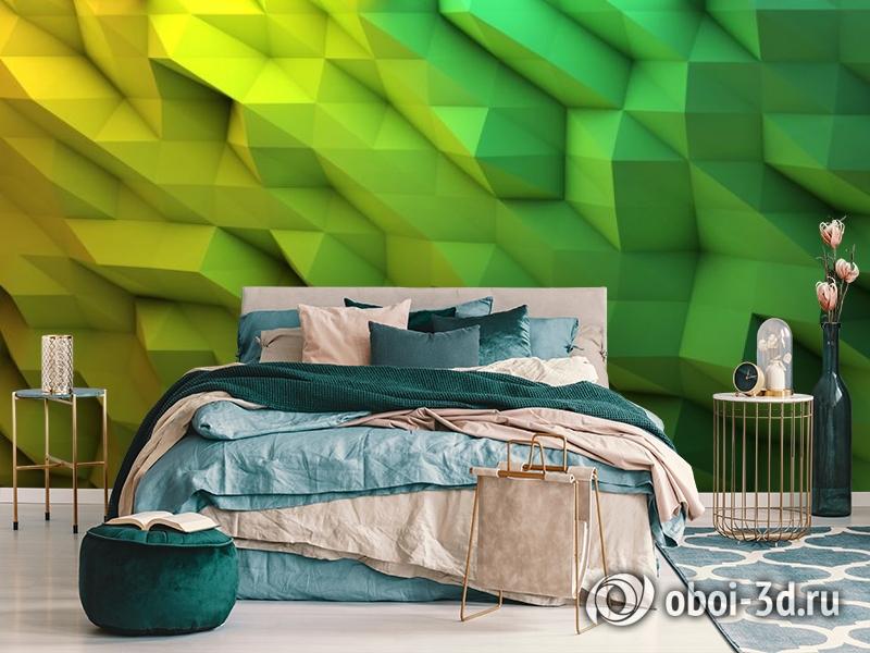 3D Фотообои «Зеленые полигоны» вид 6