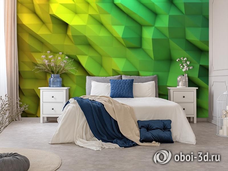 3D Фотообои «Зеленые полигоны» вид 5