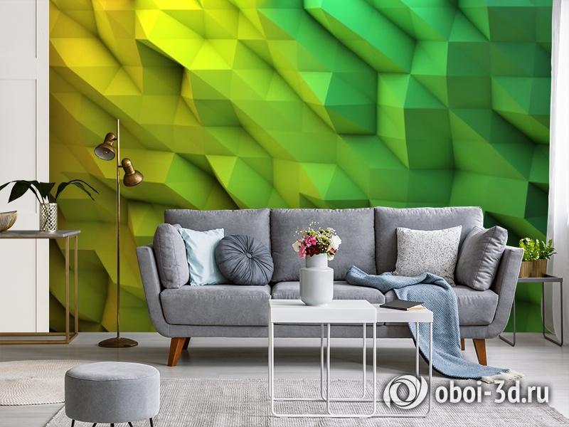 3D Фотообои «Зеленые полигоны» вид 3