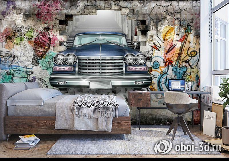 3D Фотообои «Автомобиль в подземке» вид 5
