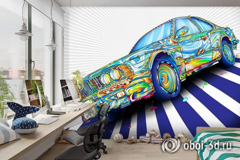 3D Фотообои «Красочный бумер» вид 3