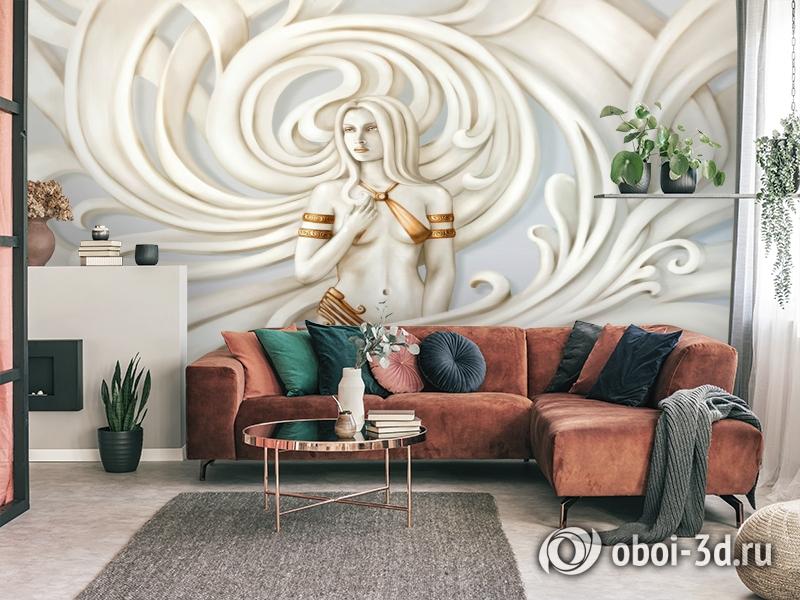 3D Фотообои «Нимфа барельеф» вид 4