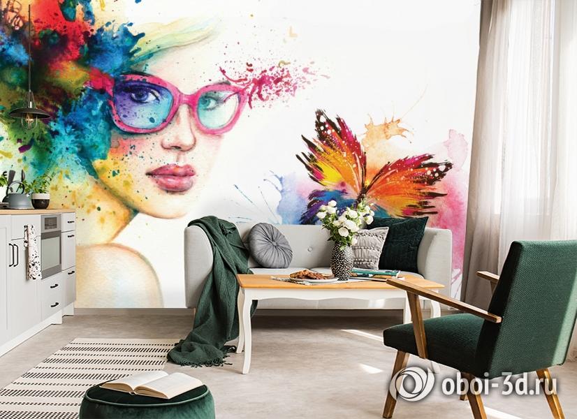 3D Фотообои «Девушка с бабочкой» вид 5