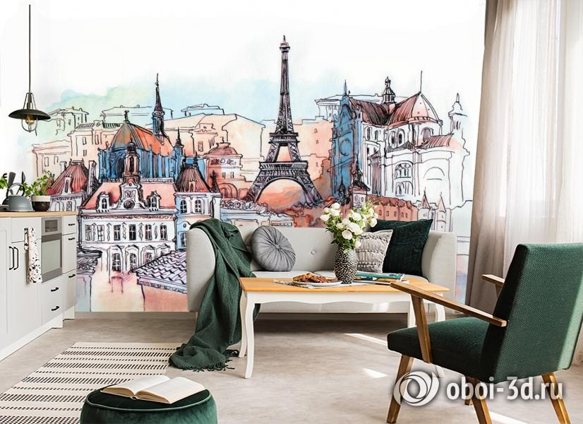 3D Фотообои «Париж акварелью» вид 5