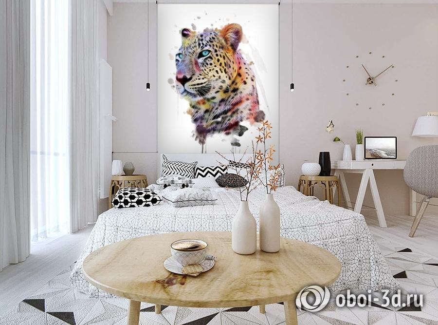 3D Фотообои «Красочный леопард» вид 3