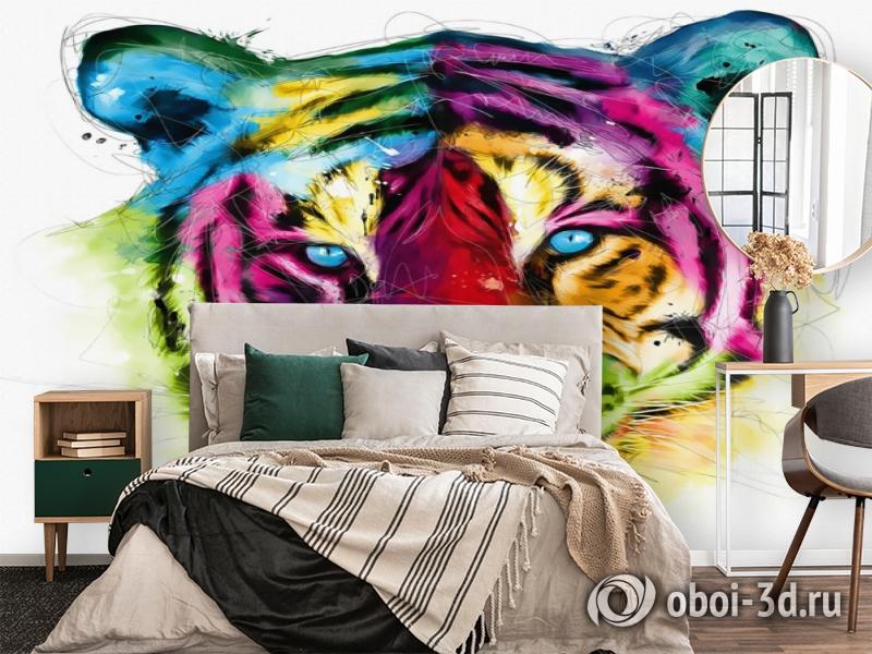 3D Фотообои «Красочный тигр» вид 2