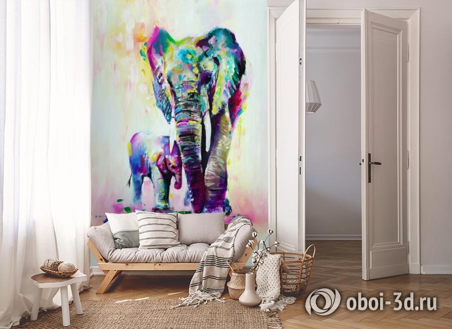 3D Фотообои «Семья слонов» вид 8