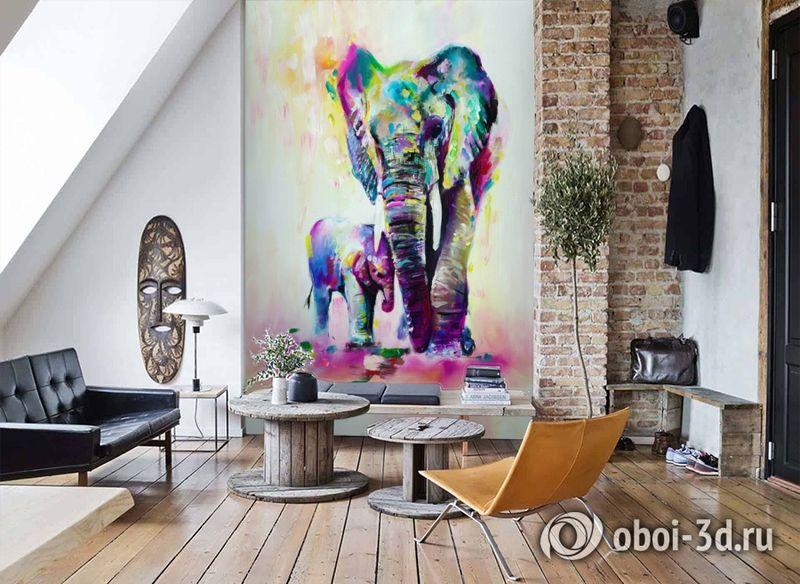 3D Фотообои «Семья слонов» вид 7