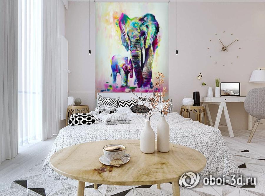 3D Фотообои «Семья слонов» вид 3
