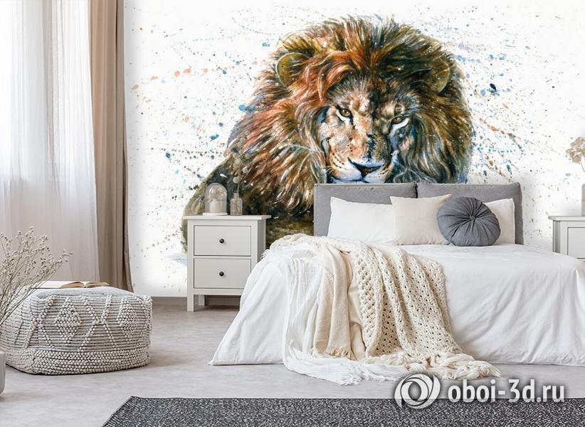 3D Фотообои «Лев акварелью» вид 6