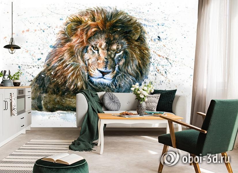 3D Фотообои «Лев акварелью» вид 5