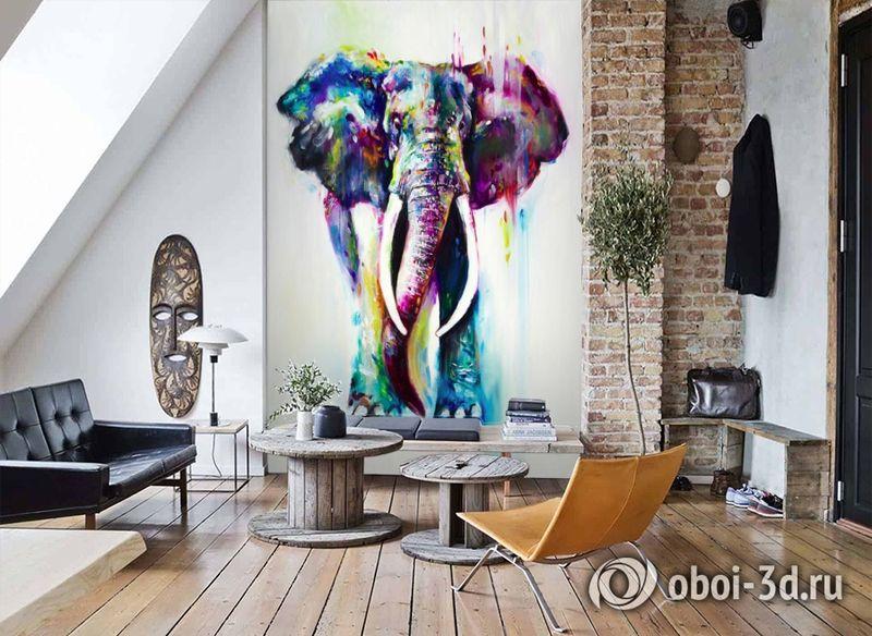 3D Фотообои «Слон акварелью» вид 7