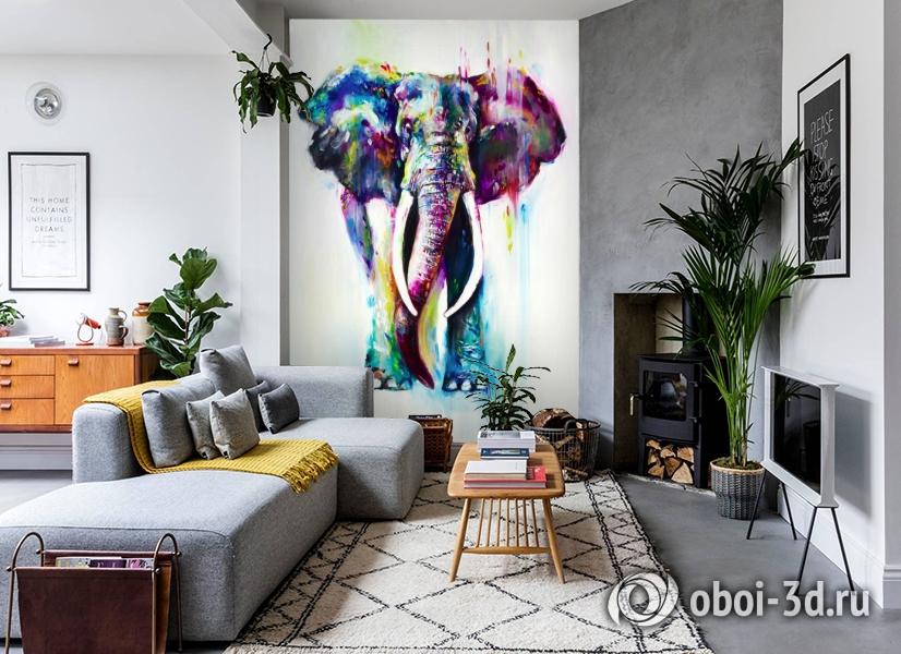 3D Фотообои «Слон акварелью» вид 2