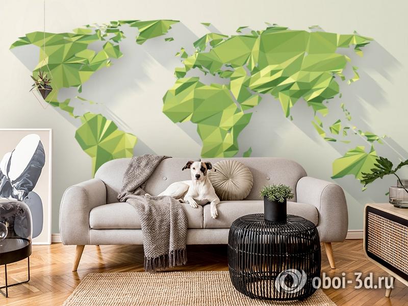 3D Фотообои «Зеленые континенты из полигонов» вид 7